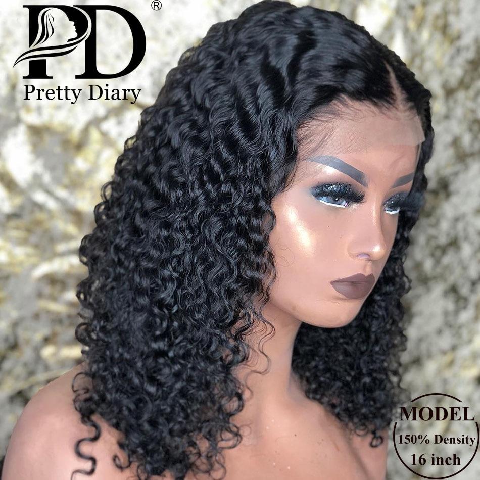 Malaio jerry encaracolado curto bob frente do laço peruca de cabelo humano pré arrancado para preto feminino glueless 13x4 profunda onda frontal peruca remy