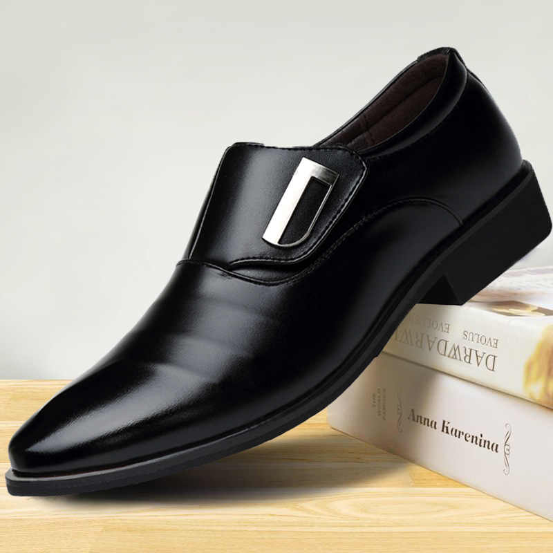 Hommes bout pointu chaussures Oxford PU cuir hommes robe chaussures affaires plates chaussures creux respirant hommes Banquet mariage 459
