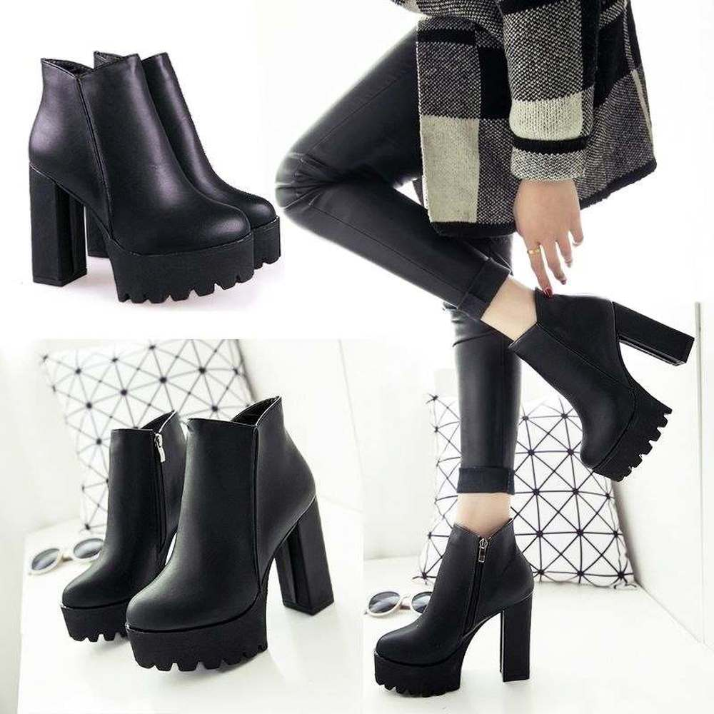 Image 2 - Women Black super high heel women thick with autumn winter 2019 new and bare boots womens shoes with short boots single shoesAnkle Boots   -