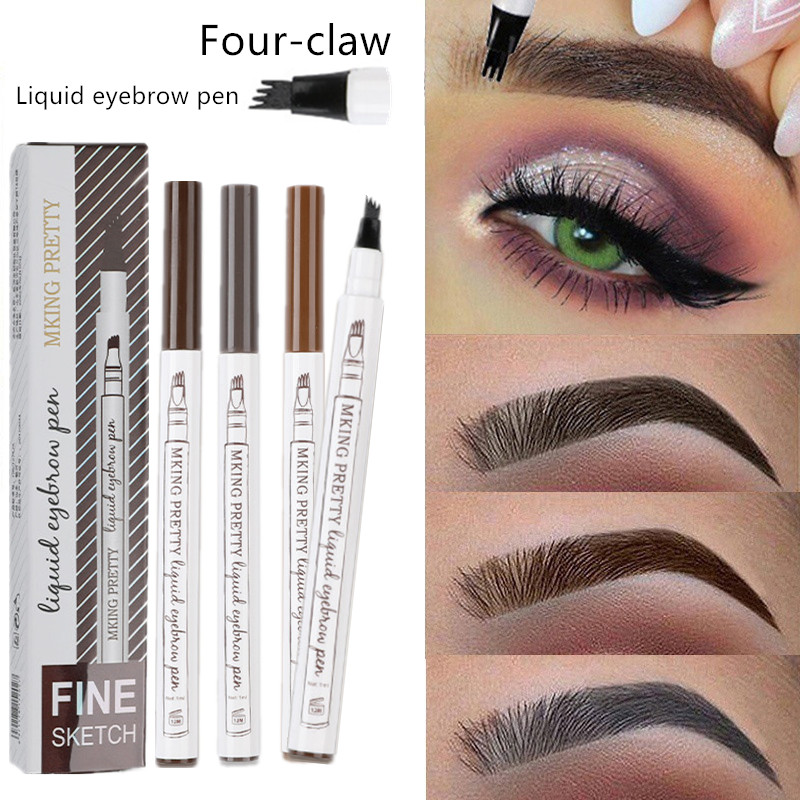Waterproof Natural Eyebrow Pen Four-claw Eye Brow Tint Makeup three Colors Eyebrow Pencil Brown Black Grey Brush Cosmetics(China)