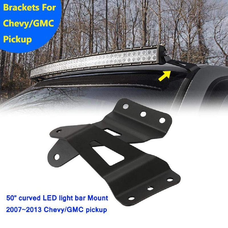 Top Roof Windshield Mounting Brackets Steel for 2007 2013 GMC Sierra/Chevy Silverado 1500 for 50 Inch / 52 Inch Curved Led Light|Headlight Bracket| |  - title=