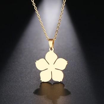 DOTIFI ожерелье из нержавеющей стали для женщин и мужчин, ожерелье с подвеской в виде цветка, ювелирные изделия для помолвки