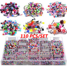 110pcs Mixed Lip Eyebrow Belly Tongue Nipple Bar Ring Sexy Vintage Piercing Studs Multicolor Body Piercing Jewelry For Woman Man(China)