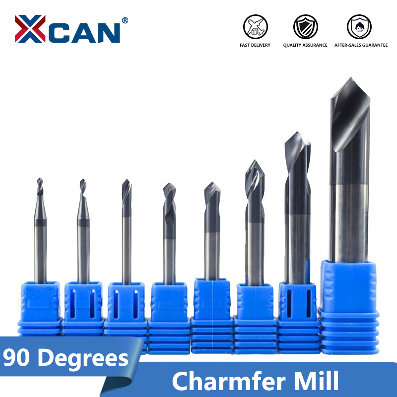 XCAN 1pc 90 Degrees 2-12mm  Chamfer Mill Chamfer Router Bit CNC End Milling Cutter Fixed Point Drill Bit Carbide End Mill