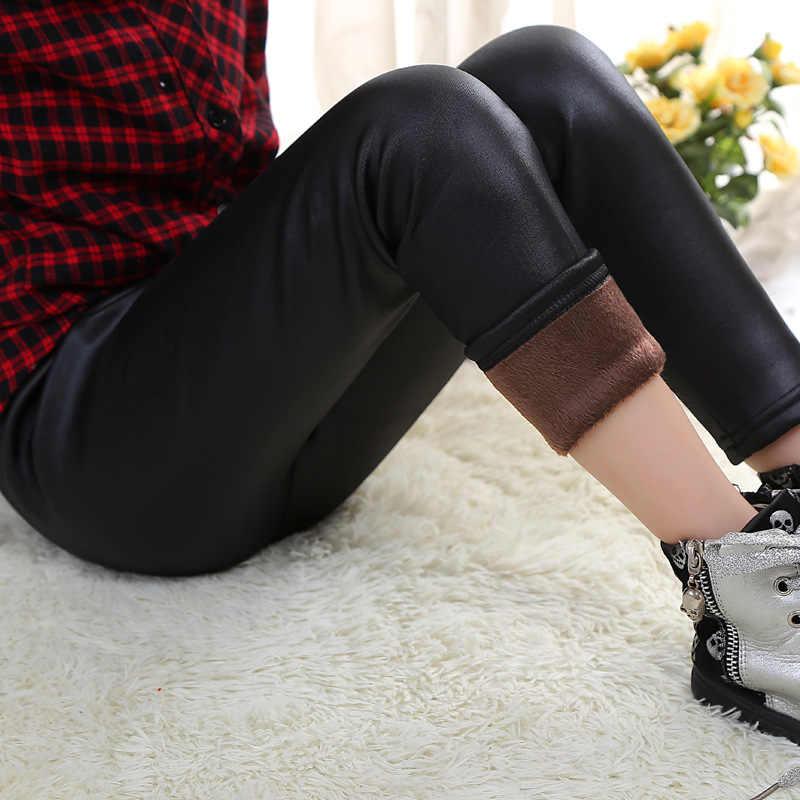 2019 moda dziewczynek legginsy zimowe grube aksamitne ołówkowe spodnie PU skórzane legginsy dziecięce niemowlę ciepłe spodnie wąskie spodnie