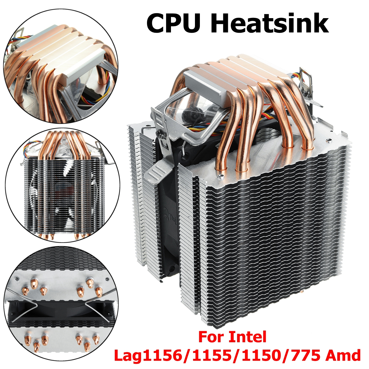 90mm tubo de calor 6 heatpipe desktop computador cpu cooler fan suporte ultra silencioso dissipador calor para intel 1156/1155/1150/775