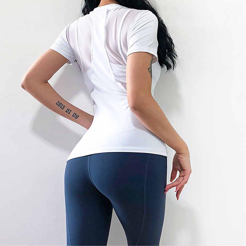 NEVERSTOP Quick Dry Fit Yoga Tops Vrouwen Sport T-shirt Gym Jerseys Fitness Shirt Yoga Running T-shirts Vrouwelijke Sport Top doek