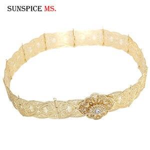 Image 5 - SUNSPICE MS ceinture en métal pour femmes, style floral, Caftan marocain, bijoux de mariage, longueur ajustable, couleur or argent