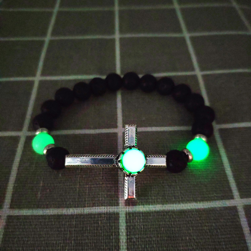 Bracelet For Men Women ð±ñ€ð°ñð»ðµñ' ð¼ñƒð¶ñðºð¾ð¹ Hand-decorated Retro Alloy Cross Volcanic Stone Beads Luminous Selling