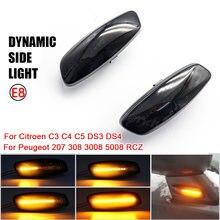 Para Citroen C3 C4 C5 DS3 DS4 para Peugeot 207, 308, 3008, 5008 RCZ dinámica luces LED de posición lateral de señal de vuelta de luz intermitente