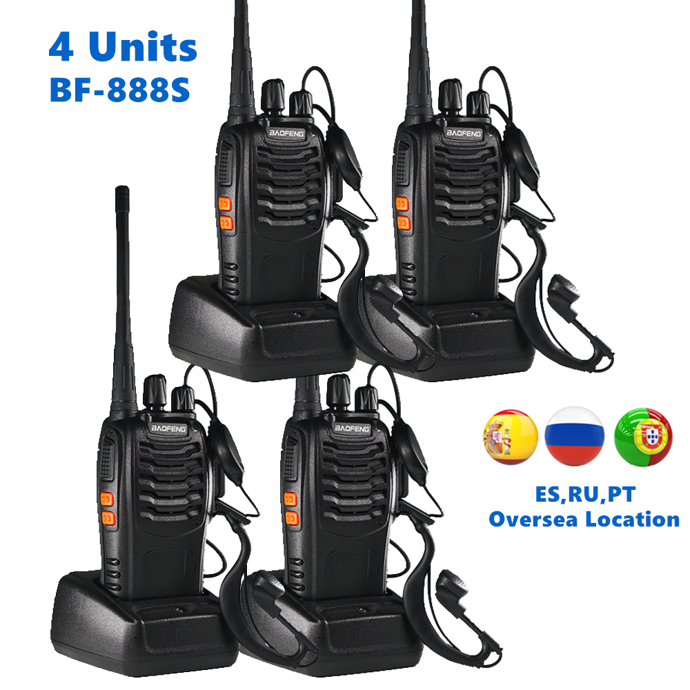 4pcs Baofeng BF 888S Walkie Talkie UHF 5W 400-470MHz Handheld Two-Way Radio Hf FM Transceiver Comunicador Ham CB Radios BF-888s