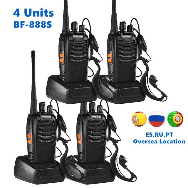 4pcs Baofeng BF 888S Walkie Talkie UHF 5W 400 470MHz Palmare Radio A due Vie hf Ricetrasmettitore FM Comunicador Ham Radio CB BF 888s