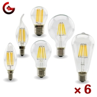 6 unids/lote E27 E14 Retro Edison bombilla de filamento LED lámpara AC 220V-240V C35 G45 A60 ST64 G80 G95 G125 bombilla de vidrio Vintage luz de la vela