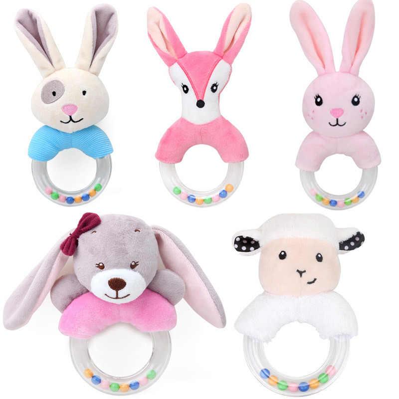 0-12months educacional chocalho do bebê brinquedo coelho mão sinos brinquedos berço macio bonito animal macio boneca de pelúcia do bebê dos desenhos animados cama brinquedos sono