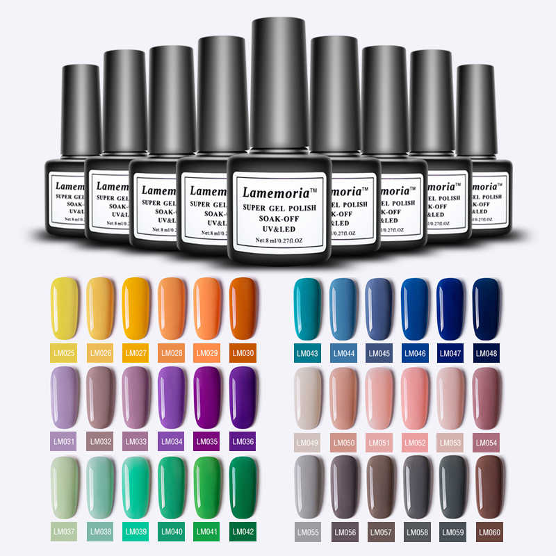 Lamemoria Nail Polish Gel Varnish Hybrid Nail Art Vernis Semi Permanent UV LED Top All for Manicure Base Coat Gel Nail Polish