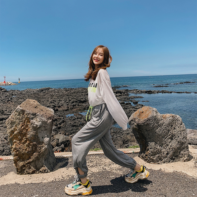 Fashion WOMEN'S Suit 2019 Autumn New Style Thin T-shirt Women's + Shou Jiao Kou Capri Casual Pants Two-Piece Set F7598