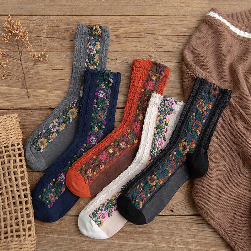 Otoño estilo nacional flor bordado Color partido mujeres calcetines Harajuku Vintage femenino dulce invierno cálido Navidad calcetines regalos