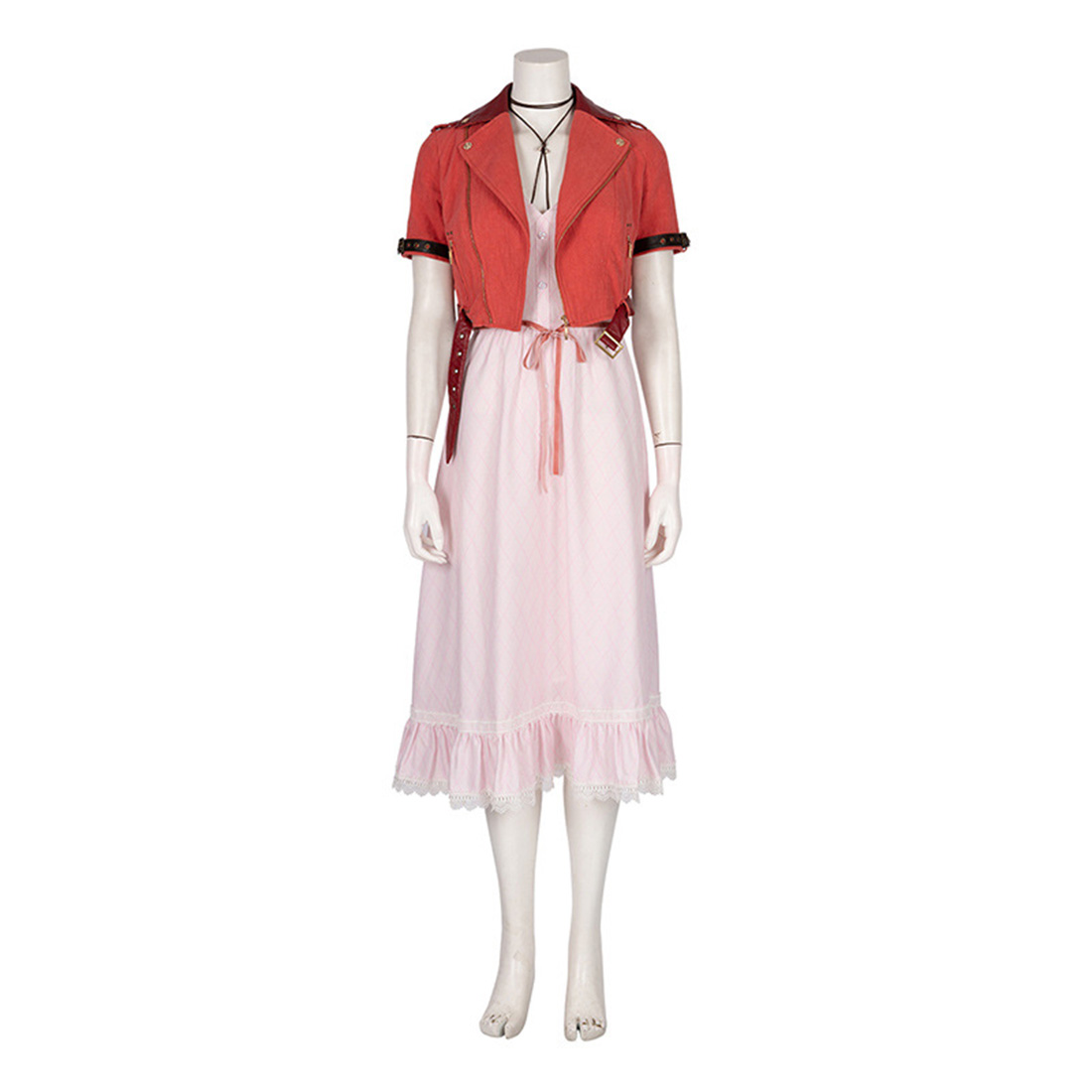 Aerith Dress Cosplay Costume Full Set For Women Fashion Female Cosplay Party Christmas Wigs Birthday Gifts - XXXL XXL XL L M S