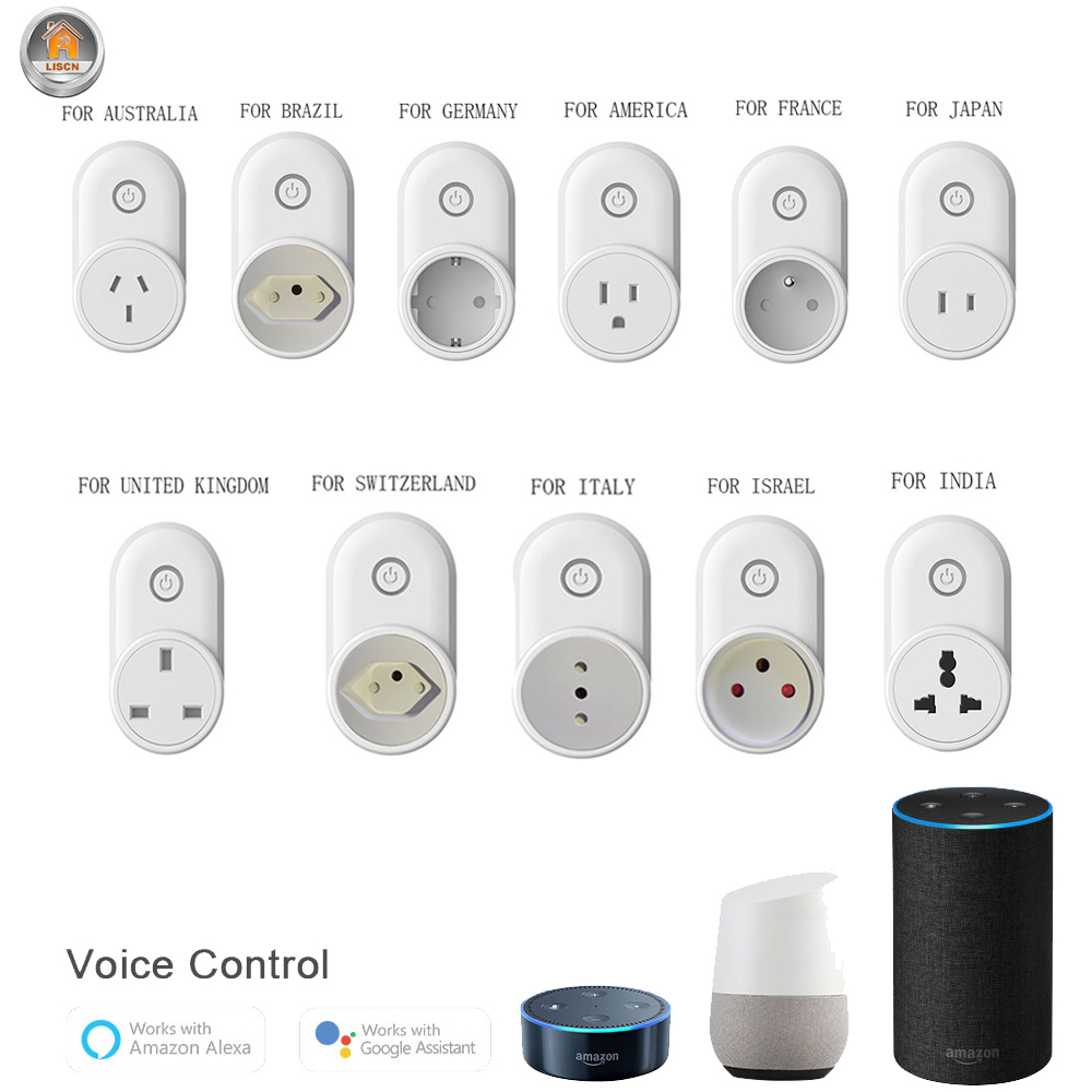AU US JP UK <font><b>EU</b></font> Plug Smart <font><b>Socket</b></font> 10A Smart Plug WiFi Wall Outlet <font><b>Remote</b></font> Control Alexa Google Home Electrical Outlet Smart Home image