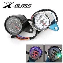 Universal Motorcycle Retro Speedometer with LED Indicator Odometer 12V Motorbike Dual Speed Meter for Harley Kawasaki Cafe Racer
