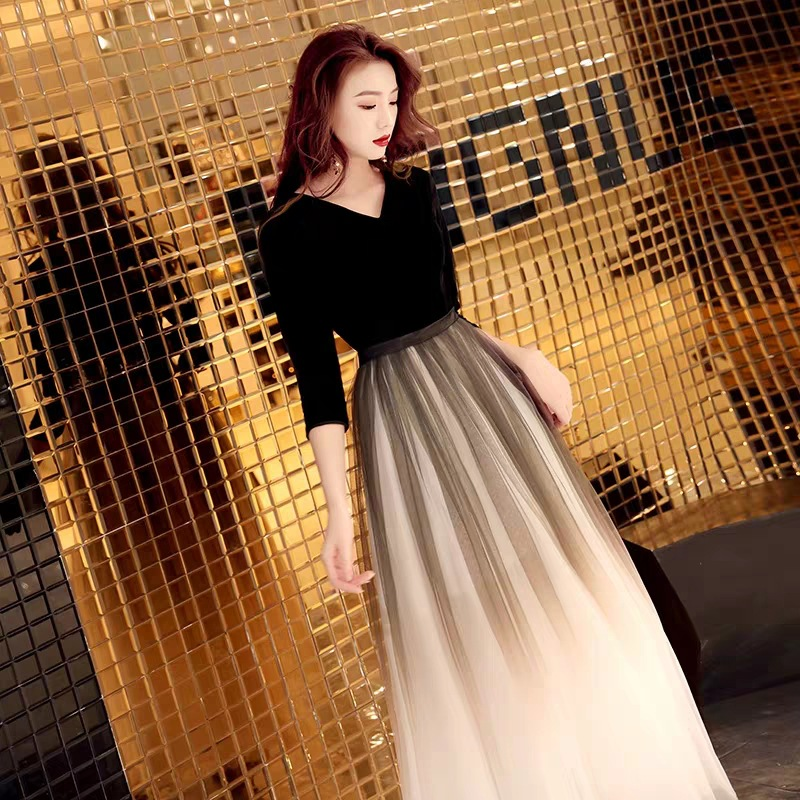 Evening Gown Women's Simple And Elegant Banquet Aura Queen 2019 Fashion Elegant Annual General Meeting Party Black And Long Slim