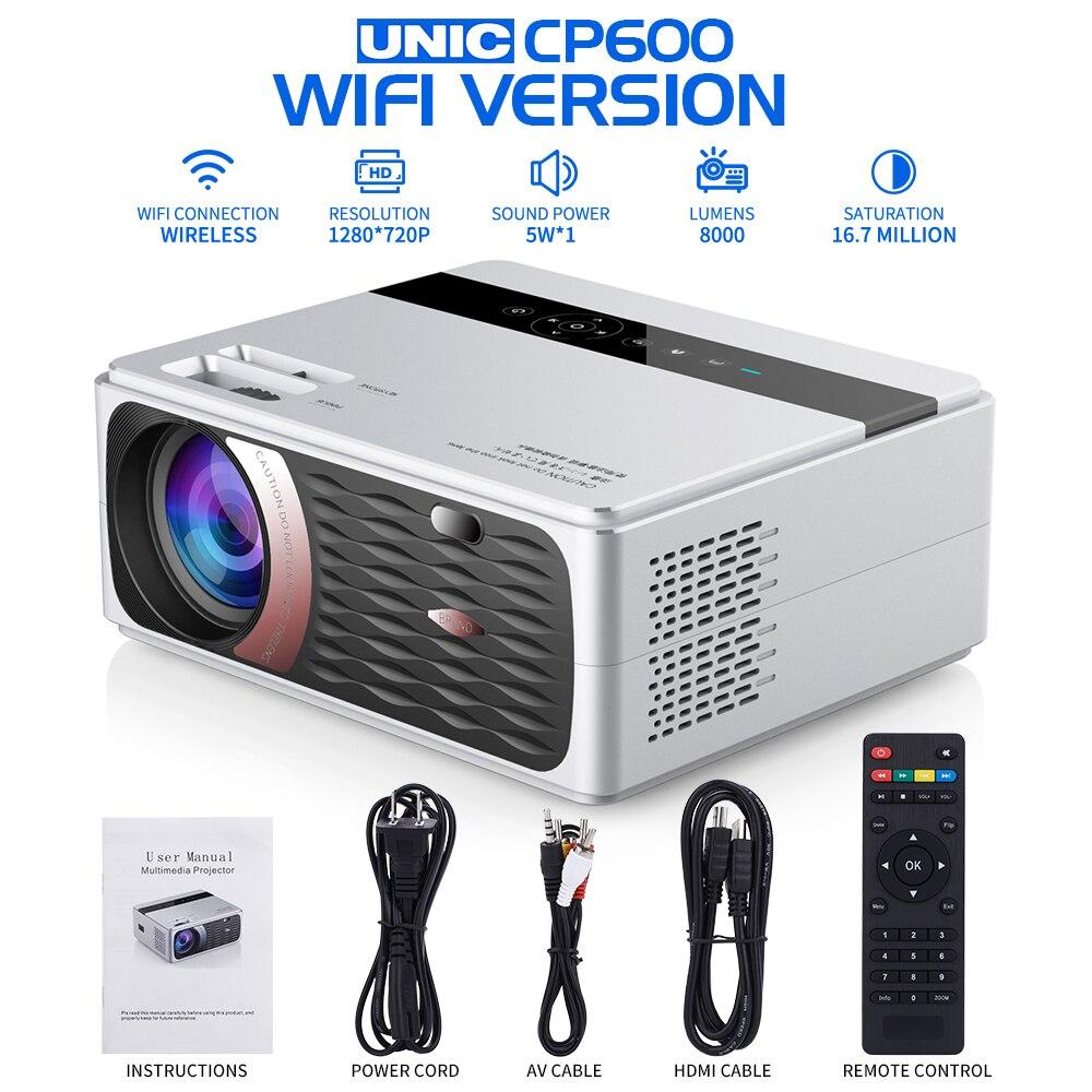 UNIC CP600 55W Volle HD 1080P Projektor 8000 Lumen 200 ANSI für Kino Proyector Beamer für Android WiFi hdmi VGA AV USB port