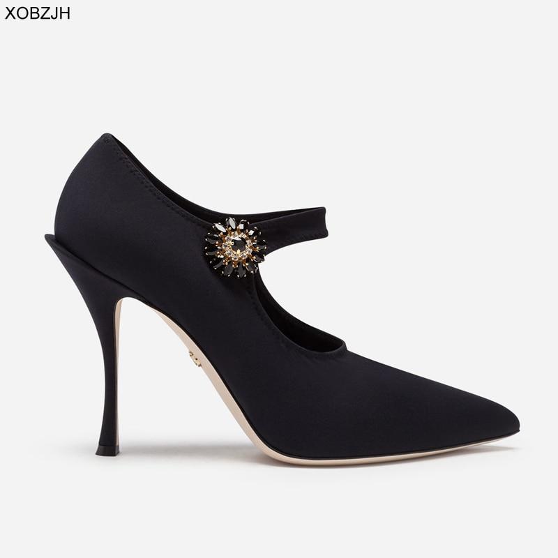 Women Pumps High-Heels Luxury Wedding-Shoes Rhinestone Italian Black Designer Mary Jane