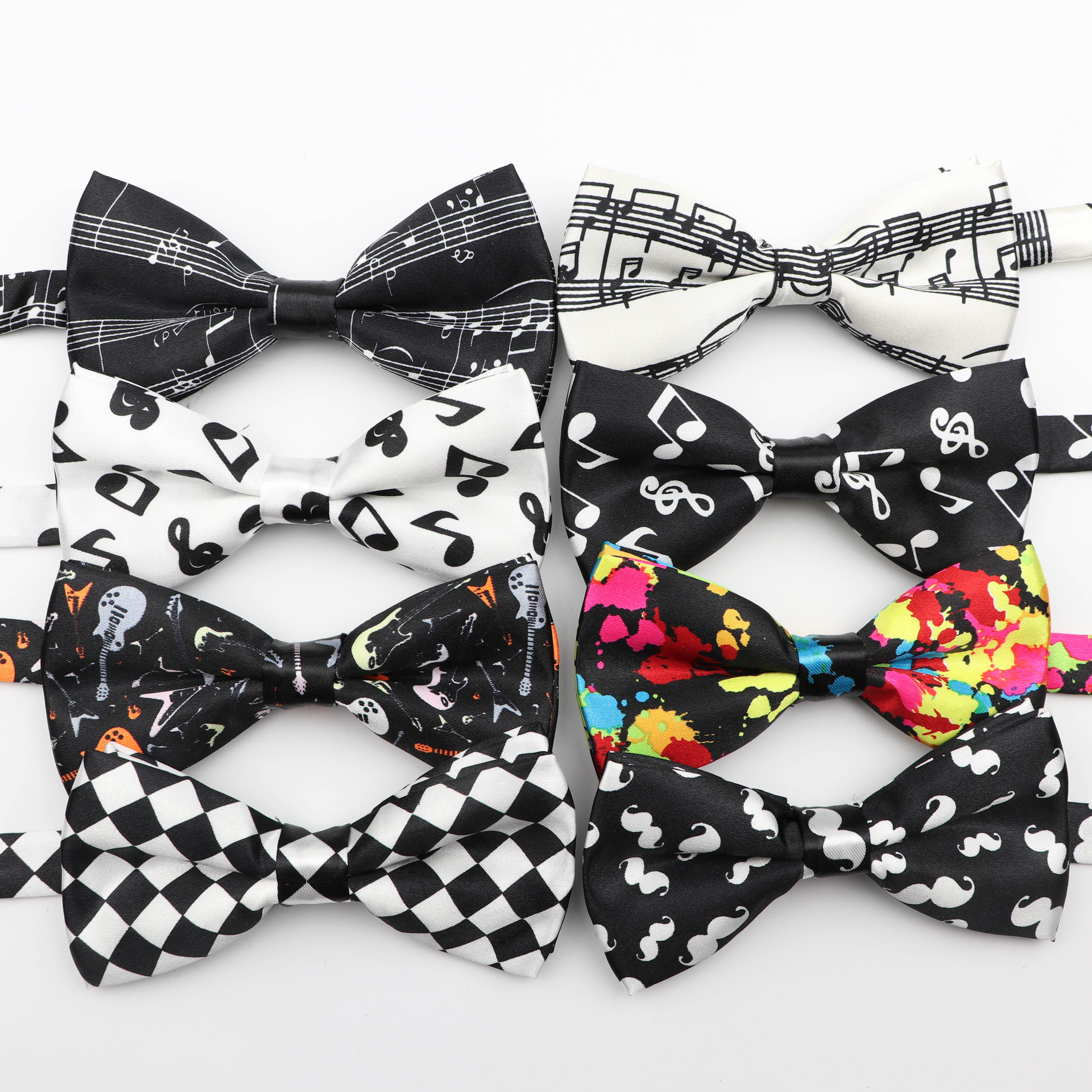 Mens Music Bow Tie Character Moustache Bowtie Smooth Camouflag Note Necktie Soft Polyester Butterfly Festival Striped Ties