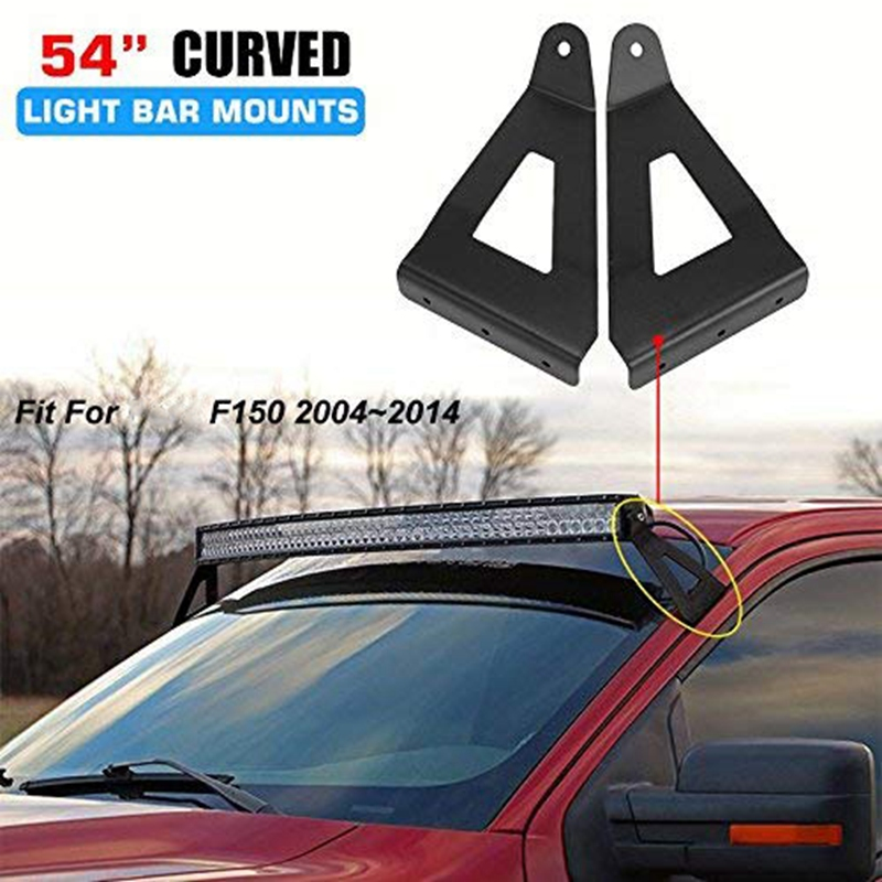 54 Inch Curved LED Light Bar Steel Upper Windshield Brackets For Ford F150 2004-2014 (1 Pair)