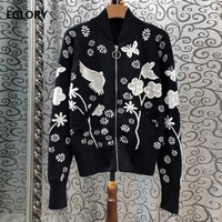 2019 Autumn Fashion Jacket High Quality Women Cute Birds Floral Embroidery Long Sleeve Casual Zipper Coat Ladies Bomber Jackets