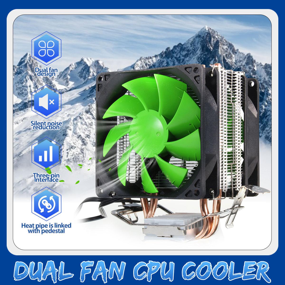CPU Dual Fan Cooler Hydraulic Heatpipe Fans Cooling Heatsink Radiator For Intel LGA775/1156/1155 AMD For AM4 Ryzen For Pentium