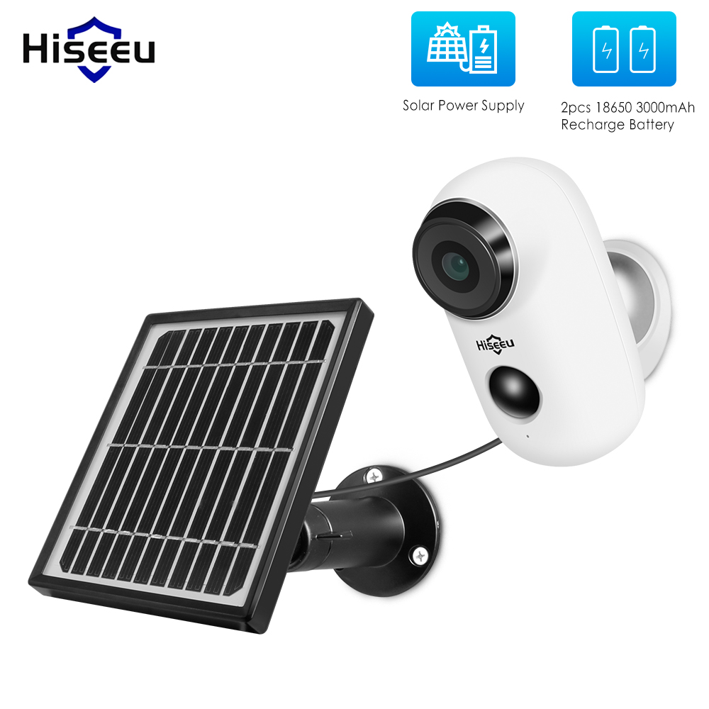 Hiseeu 1080P Wireless Rechargeable Battery IP Camera with Solar Panel Outdoor Weatherproof Home Security Camera Wifi