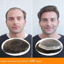Bymc черный и коричневый натуральный мужской s toupee швейцарский