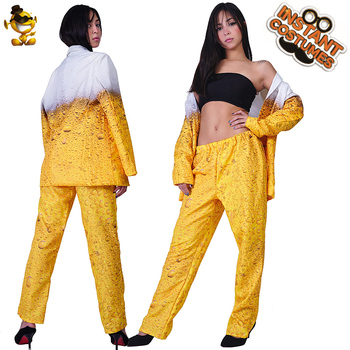 QLQ Women Oktoberfest Suit Fancy Dress Yellow Beer Clothes Role Playing Carnival  Cosplay Halloween Costume for