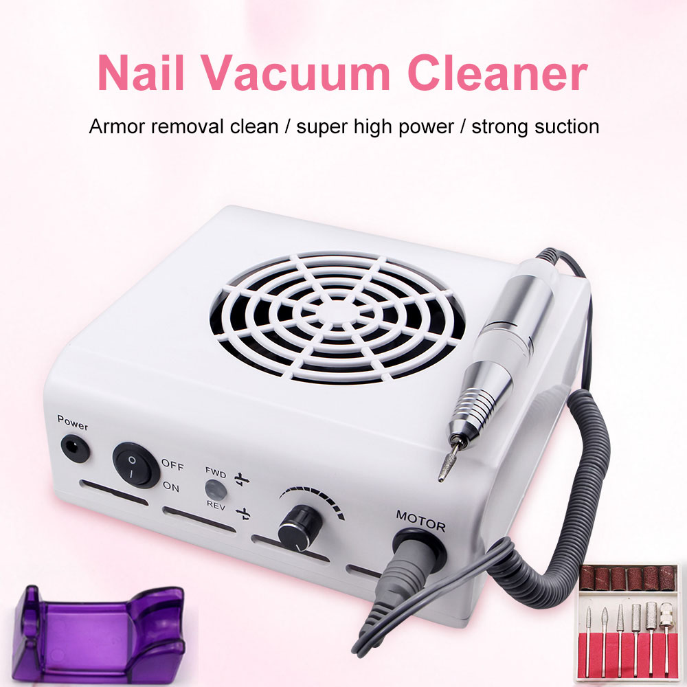 80W 2-in-1Manicure Machine Nail Drill Machine Nail Dust Collector With Adjustable Speed Handle Powerful FAN Nail Art Salon Tool