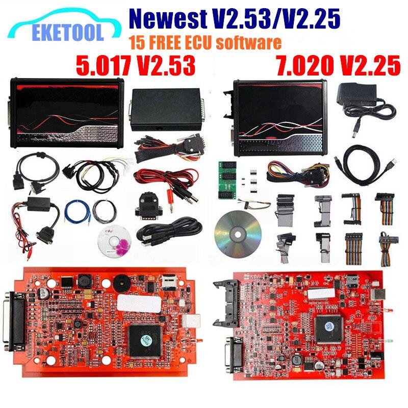 KTAG V7.020-V2 V2.53 V5.017 versión de la UE, PCB rojo, nuevo, 4LED, SW V2.25, en línea, sin fichas, V2, V5.017, V2