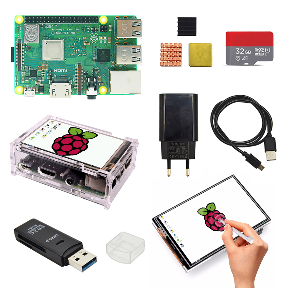 Raspberry Pi 3b Plus  3.5 Inch Screen Basis Kit With Protective Case 32G TF Card And Multi-card Reader And Heatsink EU Power