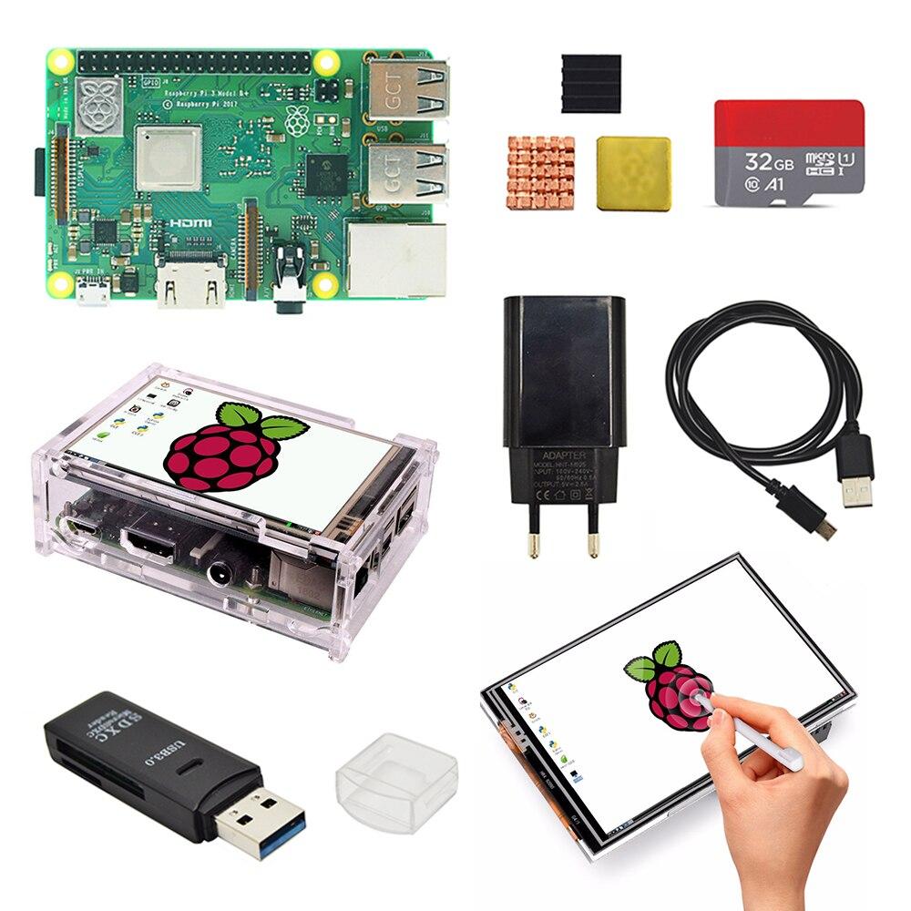 raspberry-pi-3b-plus-35-pouces-kit-de-base-d'ecran-avec-etui-de-protection-32g-tf-carte-et-multi-carte-lecteur-et-dissipateur-thermique