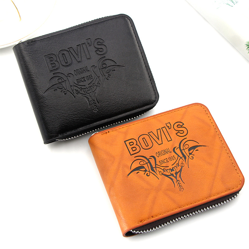 New Bull Head Zipper Men's Short Wallet Retro European and American Style Large Capacity Multi Card Wallet small purse wallets
