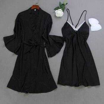2020 primavera mujeres Robe & Gown Sets Sexy Sleep Lounge Pijama sin mangas señoras bata de dormir + Camisón con almohadillas para el pecho