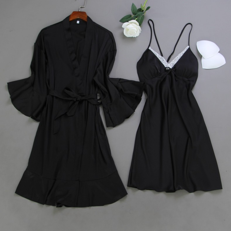 Spring Summer Women Satin Robe & Gown Sets Sexy Lace Sleep Lounge Sleeveless Sil Nightwear Bathrobe+Night Dress Chest Pads