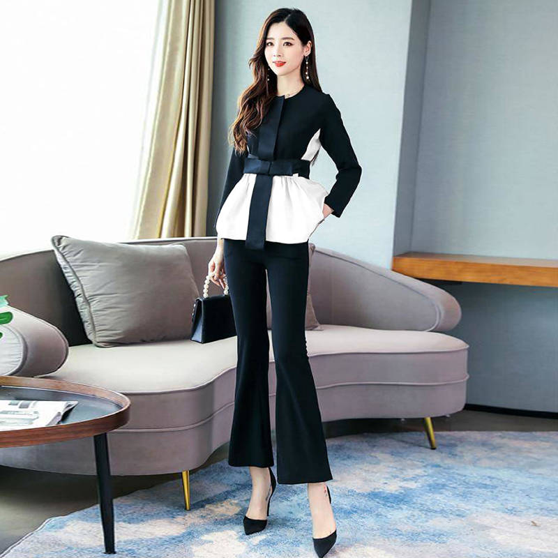 Ha4d15fe135c842e5b593b2d0f423038fI - Spring Korean Elegant Black And White Patchwork 2 Piece Set Women Fashion Womens Outfits Plus Size Clothing