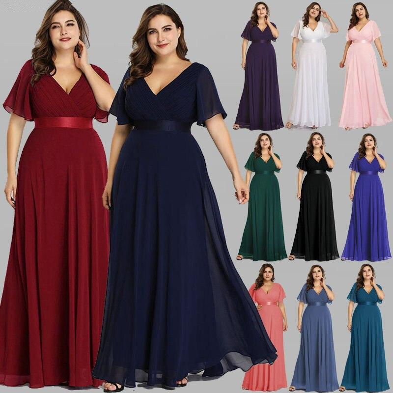 Plus Size Evening Dresses Elegant V-Neck Ruffles Chiffon Formal Evening Gown Party Dress  Vestido Largo Fiesta Noche Elegante