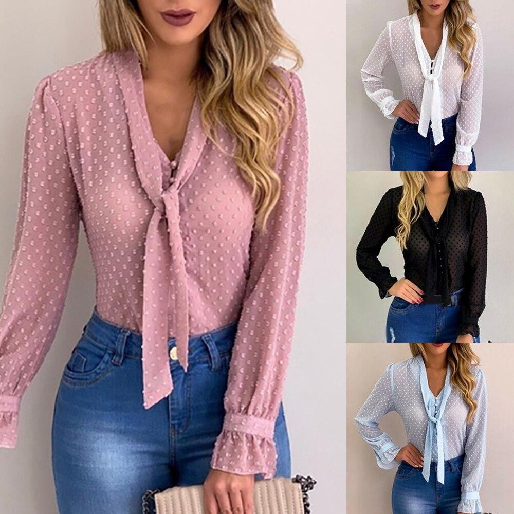 DIHOPE D'été top en mousseline Femmes Rose Chemisiers et Chemise Nouvelle Douce Bureau Style Femmes À Manches Longues Chemise blusas mujer de moda 2020