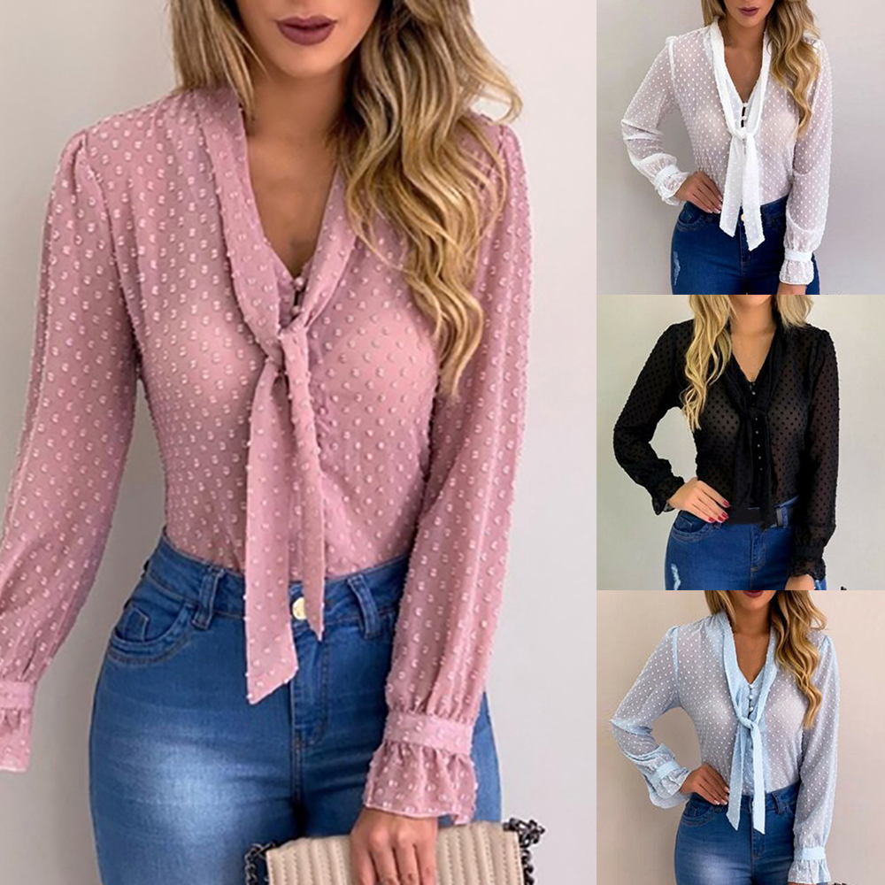 DIHOPE Summer Chiffon Tops Women Pink Blouses And Shirt New Sweet Office Style Women Long Sleeve Shirt Blusas Mujer De Moda 2020