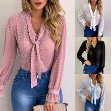 DIHOPE Summer Chiffon Tops Women Pink Blouses and Shirt New