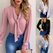 DIHOPE Summer Chiffon Tops Women Pink Blouses and S