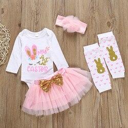 Новая одежда для девочек модные комплекты одежды для маленьких девочек с пасхальным Кроликом, боди с надписью + юбка + повязка на голову + нос...