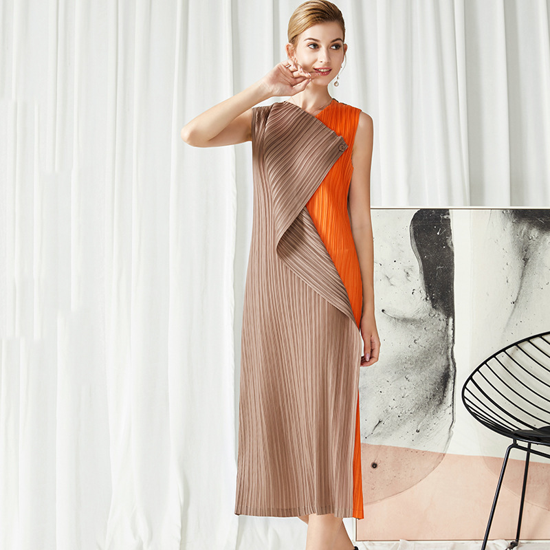 LANMREM 2020 New Spring V-neck Hit Color Mid-length Dress Women Vintage Slim Irregular Sleeveless Straight Dress Tide PD589