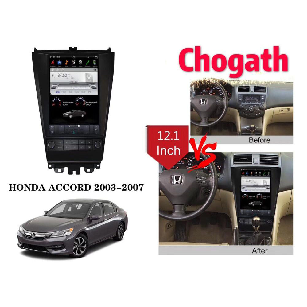 Chogath 12.1 INCH Tesla Style with <font><b>Android</b></font> 7.1 system RK PX3 2+32G Quad Corcar multimedia player for <font><b>HONDA</b></font> <font><b>ACCORD</b></font> 2003-2007 image